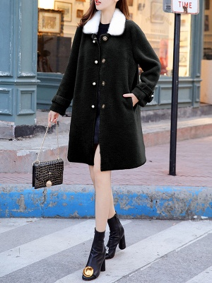 Buttoned Solid Shirt Collar Paneled Fur And Shearling Coats_7