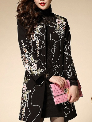 Black Wool Crew Neck Long Sleeve Floral Coat_6