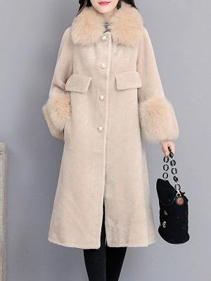 Women's Winter Faux Fur Shearling Coats With Fur Collar_4