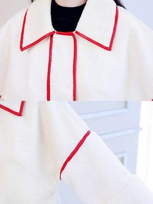 White Long Sleeve Shirt Collar Fur And Shearling Coats_7