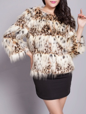 Beige Long Sleeve Shift Fluffy Faux Fur Fur and Shearling Coat_6