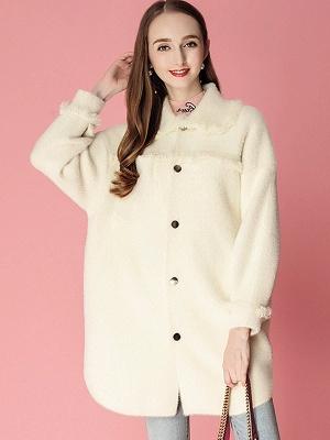 Sweet Raglan Sleeve Buttoned Fur And Shearling Coats_2