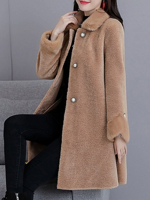 Buttoned Long Sleeve Solid Fur And Shearling Coats_12