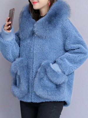 Hoodie Paneled Fluffy Solid Fur And Shearling Coats_4