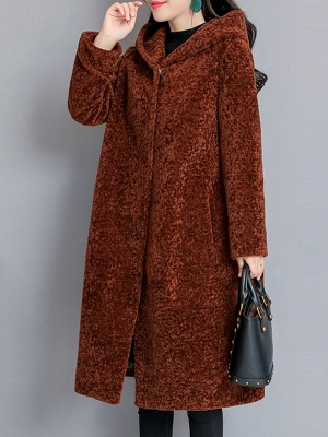 Buttoned Long Sleeve Hoodie Fur And Shearling Coats_12