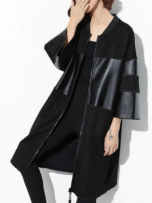 Black PU Paneled Zipper 3/4 Sleeve Coat_6