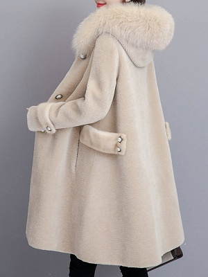 Casual Solid Long Sleeve Fur And Shearling Coats_4