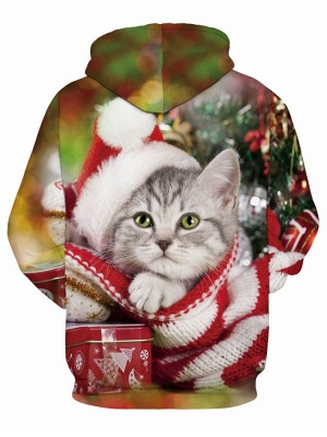 Plus Size Couple Hoodies Fashion Ugly Christmas Cat Printed Hooded Clothes for Women/Men_3