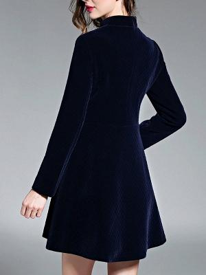 Navy Blue Elegant Stand Collar Velvet Coat_3
