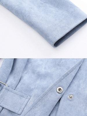 Blue Shirt Collar Long Sleeve Solid Coat_6