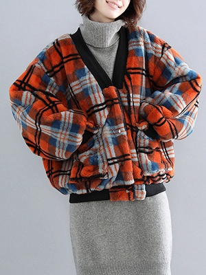 Long Sleeve Checkered/plaid Fur And Shearling Coats_2