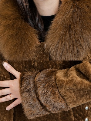 Pockets Buttoned Paneled Fur and Shearling Coat_7