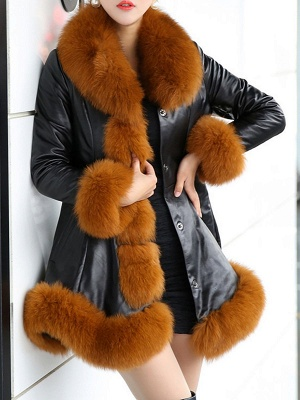 Fluffy Pockets Paneled A-line Fur and Shearling Coat_10