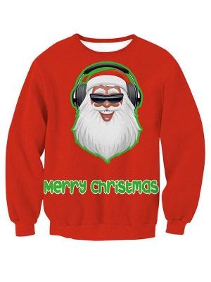 Women's Red Santa Claus Merry Christmas Printed Long Sleeves Casual Sweatshirt_1