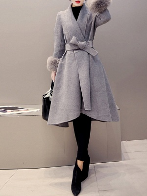 High Low Bow Asymmetric Solid Fur And Shearling Coats_7