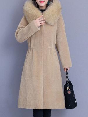 Hoodie Shift Pockets Long Sleeve Fur And Shearling Coats_1