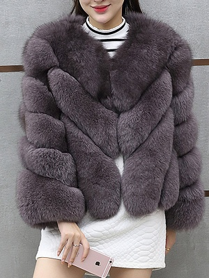 Casual Long Sleeve Shift Crew Neck Fur and Shearling Coat_1