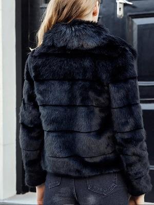 Black Long Sleeve Shift Shawl Collar Casual Color-block Fur and Shearling Coat_3