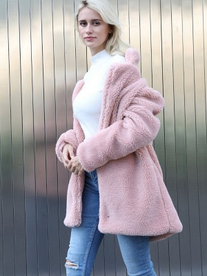 Long Sleeve Shirt Collar Solid Shift Fur And Shearling Coats_10