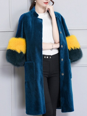 Embroidered Paneled Fur and Shearling Coat_9