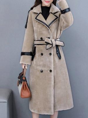 Solid Paneled Long Sleeve Fur And Shearling Coats_2
