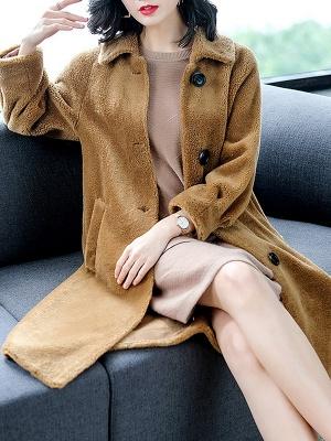 Brown Shawl Collar Casual Fur And Shearling Coats_8