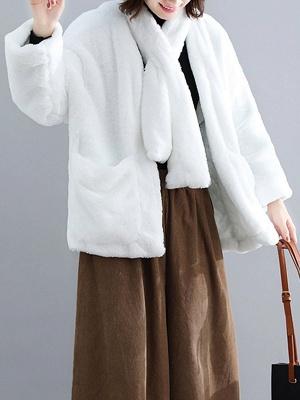 Solid Long Sleeve Pockets Fluffy Fur And Shearling Coats_2
