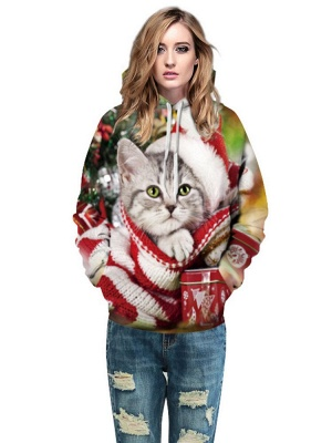 Plus Size Couple Hoodies Fashion Ugly Christmas Cat Printed Hooded Clothes for Women/Men_4