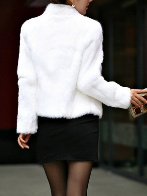 Stand Collar Solid Long Sleeve Fur and Shearling Coat_4