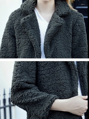 Green Solid Shift Faux Fur Casual Long Sleeve Fur and Shearling Coat_5