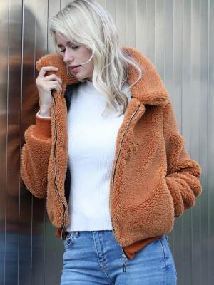 Long Sleeve Pockets Solid Fur And Shearling Coats_6