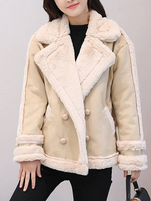 Lapel Buttoned Solid Pockets Fur And Shearling Coats_1