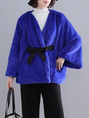 Casual Solid Crew Neck Fur And Shearling Coats_5