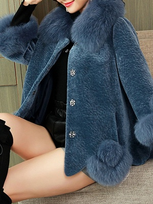 Buttoned Fluffy Shift Paneled Fur And Shearling Coats_14