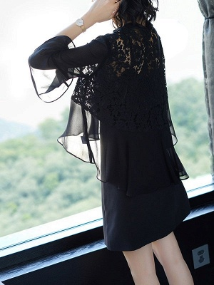 Casual Bell Sleeve Chiffon Solid Asymmetrical Coat_6