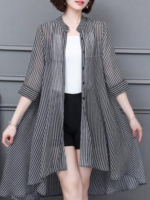 al Shirt Collar 3/4 Sleeve See-through Look Chiffon Striped_2