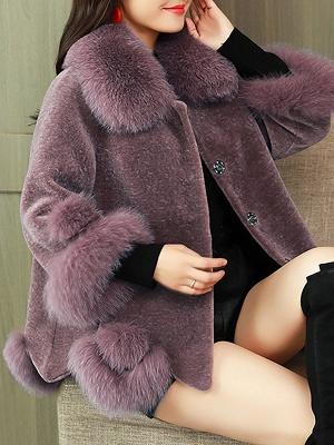 Paneled Shawl Collar Long Sleeve Fur And Shearling Coats_2