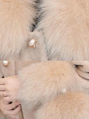 Women's Winter Faux Fur Shearling Coats With Fur Collar_10