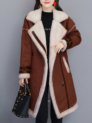 Casual Long Sleeve Fur And Shearling Coats_6