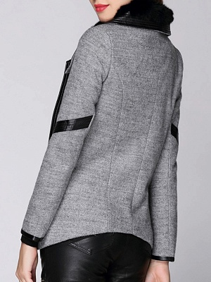 Paneled Long Sleeve Casual Shawl Collar Artificial Leather And Shearling Coat_3