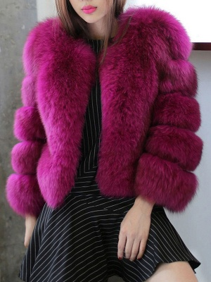 Casual 3/4 Sleeve Solid Fluffy  And Shearling Coat_2