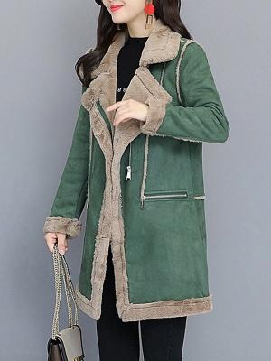 Paneled Zipper Lapel Casual Fur And Shearling Coats_9