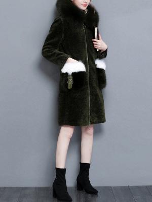 Shift Zipper Pockets Hoodie Fur and Shearling Coat_9