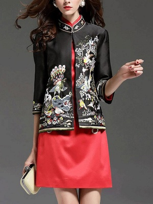 3/4 Sleeve Animal Casual Embroidered Coat_2
