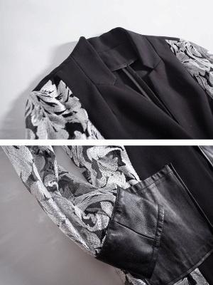 Gray Long Sleeve Casual Abstract Shift Coat_5