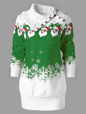 Santa Claus Printed Plus Size Tunic Sweatshirt Dress_3