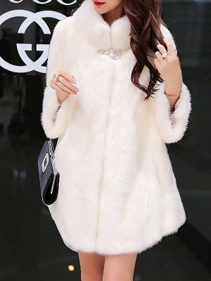 Long Sleeve Solid Shift Fluffy Fur and Shearling Coat_11