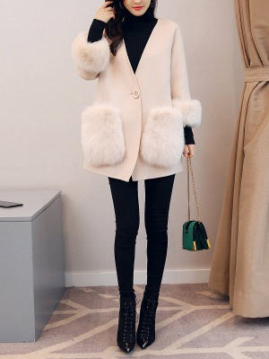 Beige Solid Simple Coat_5