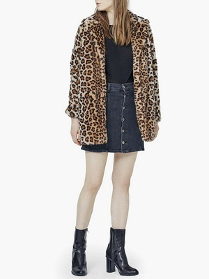 Brown Leopard Print Long Sleeve Fur And Shearling Coats_4