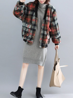 Long Sleeve Checkered/plaid Fur And Shearling Coats_6